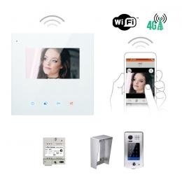 Interphone vidéo - KIT MINI CRYSTALIA CS VIDEO WIFI 4,3 POUCES AVEC MÉMOIRE + CAMERA SAILLIE AVEC DIGICODE